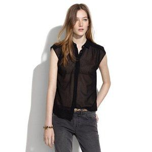 Madewell Black Silk Sheer Dot Embroidered Silk Top